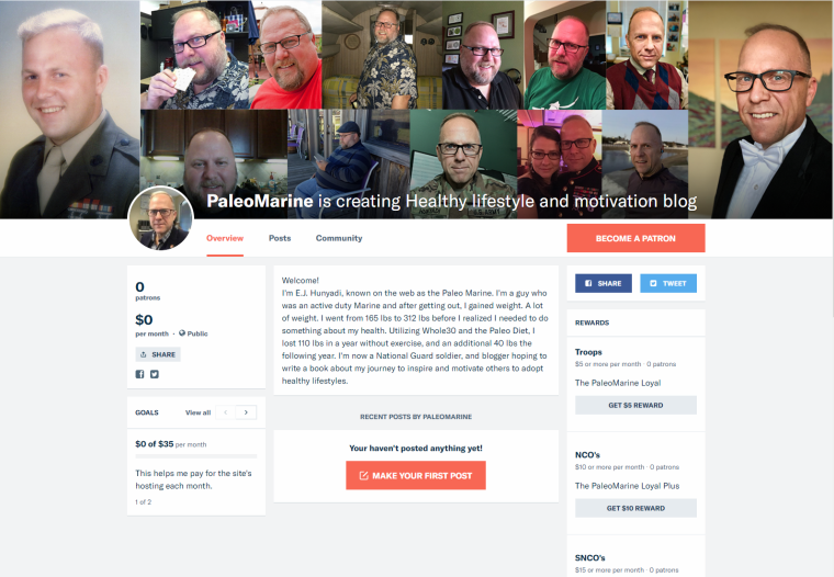 2018-01-30 22_43_00-PaleoMarine is creating Healthy lifestyle and motivation blog _ Patreon